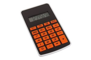 "8-digit calculator ""Touchy"" with rubber-coated orange buttons"